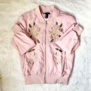 Forever 21 Blush Pink Floral Bomber Jacket